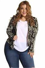 DEALZONE Printed Front Zipper Top Vest 1X 2X Women Plus Size Green Long Sleeve
