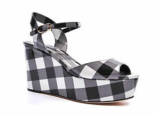 Dolce & Gabbana high wedges in black/white patent leather made in Italy