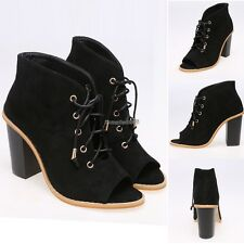 Women Solid Faux Suede Lace Up Peep Toe Ankle High Heel Sandals ED01