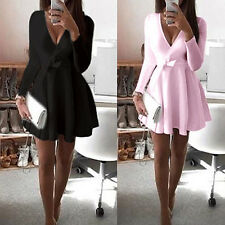 Women Sexy Deep V-Neck Long Sleeve Bowknot Cocktail Party Mini Dress Refined