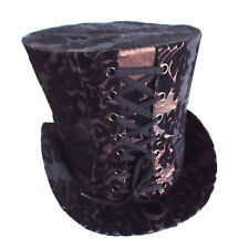 Steampunk High Top Hat in Brown with Black Flocking Design