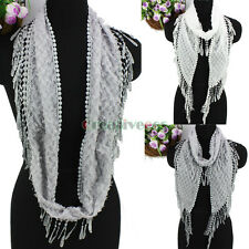 Women's Fashion Scarves Rhombus Pattern Tassel Lace Soft Long/Infinity Scarf New