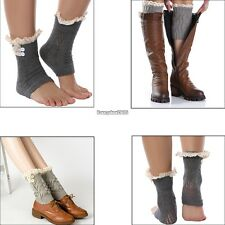 New Women Girls Crochet Knit Lace Trim Button Leg Warmers Boot Cuffs Socks ED