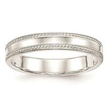925 Sterling Silver 4mm Edged Design Polished Wedding Ring Band Sizes 4 - 12