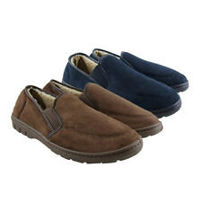 Mens Faux Suede Twin Gusset Luxury Slippers Size UK 6 7 8 9 10 11 12