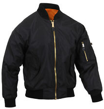 Mens Black Jacket Lightweight MA-1 Flight Military Bomber Style Rothco 6320