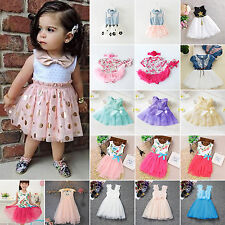 Baby Kids Girls Summer Sleeveless Mini Tutu Dress Banquet Party Dresses 0-11Y