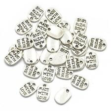 50pcs Tibetan Silver Charms For Jewellery Making And Crafts Oval Heart Pendants