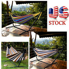 Outdoor Chair Hanging Camping Cotton Double Patio Canvas Hammock w/ Steel Stand