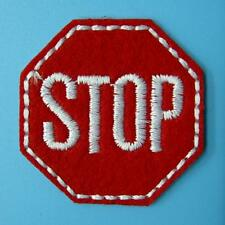 Stop Traffic Sign Iron on Sew Patch Applique Badge Embroidered Biker Applique. P