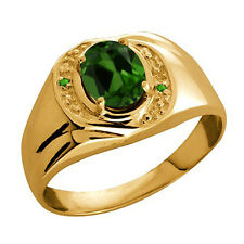 1.21 Ct Green Chrome Diopside Green Simulated Tsavorite 10K Yellow Gold Ring