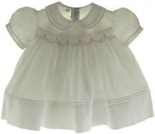 Newborn Girls White Smocked Dress with Pink Flowers Feltman Brothers