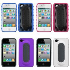 For Apple iPhone 4/4S Hybrid Toungue Kickstand Impact Case Phone Cover