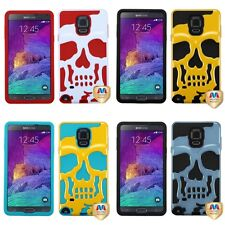 For Samsung Galaxy Note 4 Hybrid Skull Skeleton Impact Hard Soft Case Cover