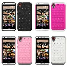 For HTC Desire 626 Rhinestone Rugged Armor Bling Case Phone Cover