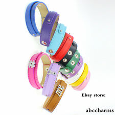 10pcs mixed colors 18*210mm+8mm Copy Leather Wristbands Fit Slide Charms/Letters