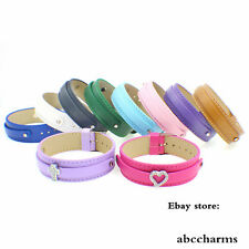 10pcs mixed18*210mm+8mm Copy Leather Buckle Wristbands Fit Slider Charms/Letters