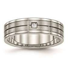Chisel Stainless Steel 6mm Brushed and Polished Grooved CZ Ring Size 6 to 13