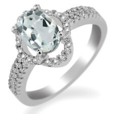 1.69 Ct Oval Sky Blue Aquamarine 925 Sterling Silver Ring