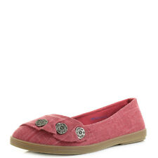 Womens Blowfish Garden Red Cozumel Linen Flat Ballet Pump Shoes UK Size