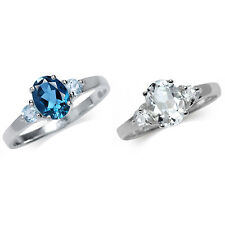 Genuine 3-Stone Topaz 925 Sterling Silver Engagment Ring