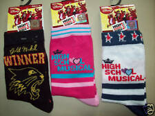 girls socks 3 pairs with disney high school musical logo new shoe size 9 to 12