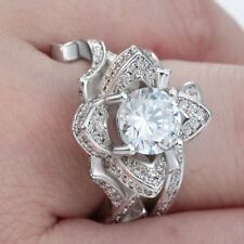 Engagement Wedding Flower Ring Silver Plated CZ Zircon Crystal