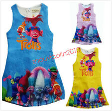 Trolls Poppy Girls Fancy Dress Costume Kids Wedding Sleeveless Party Dresses