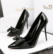 Sexy Women's Ladies High Heels PU Pointed-toe Elegant Classic Bow Shoes Pumps