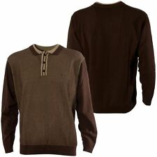 Gabicci Vintage Mens Brown Polo Shirt Contrasting Design Knitted Top Size S-3XL