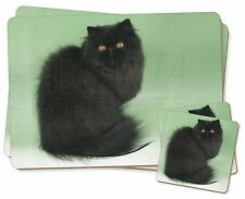 Black Persian Cat Twin 2x Placemats+2x Coasters Set in Gift Box, AC-107PC