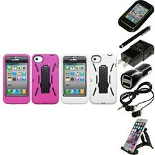 For Apple iPhone 4/4S Kickstand Case Heavy Duty Hard Soft Case Cover Accessories