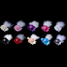 Kid Girl Baby Feather Hairband Satin Flower Lace Headband Rhinestone Party Gift