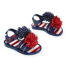Koala Kids Red/White/Blue Soft Sole T-Strap Sandals with Flower Detail