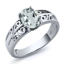 1.10 Ct Oval Sky Blue Aquamarine 925 Sterling Silver Ring