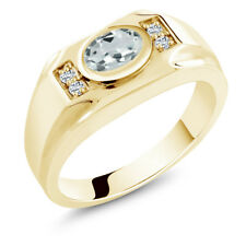 1.26 Ct Sky Blue Aquamarine White Topaz 18K Yellow Gold Plated Silver Men's Ring