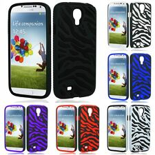 For Samsung Galaxy S4 Phone Case ZEBRA Hybrid 2-Piece Hard Soft Cover
