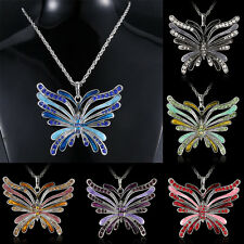 Women Crystal Rhinestone Hollow Butterfly Pendant Necklace Sweater Chain Jewelry