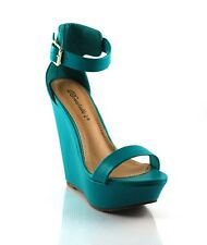 Aqua Sexy Tall Single Toe Band Closed Back Ankle Strap Wedge Platform Sandals