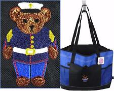 Marine Soldier Teddy Bear Gemline Select Zippered Tote Bag Custom Embroidered