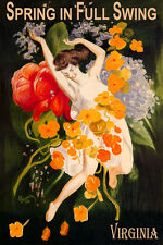 VIRGINIA SPRING IN FULL SWING GIRL DANCING FLOWERS TRAVEL VINTAGE POSTER REPRO