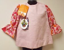 "VINTAGE UNWORN 1970's GIRLS ""2ft & TRENDY"" PINK FLORAL DRESS AGE 2 YEARS"