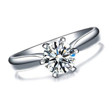 Womens 1 Carat CZ Ring band created Brilliant Cut Single Stone White Gold Plated