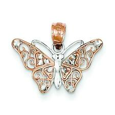 Yellow White & Rose Gold Butterfly Charm Pendant Jewelry