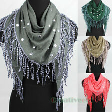 Fashion Women Round Rivet Lace Tassel Solid Triangle Scarf Ladies Shawl Wrap New