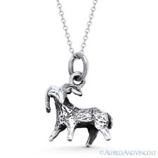 Aries the Ram Zodiac Sign Luck Animal Pendant & Necklace in .925 Sterling Silver