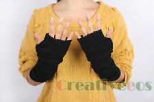Men Women Knit Gloves Square Fingerless Winter Warmer Arm Travel Long Gloves
