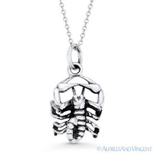 Scorpio Zodiac Sign Scorpion Pendant Luck Necklace in Solid .925 Sterling Silver