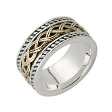 New Silver & 10ct Yellow Gold Irish Celtic Knot Work Band Ring Celtic Jewellery