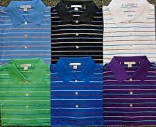 NEW MENS PETER MILLAR S/S SQUIRREL STRIPE LISLE POLO GOLF SHIRT,LARGE,PICK COLOR